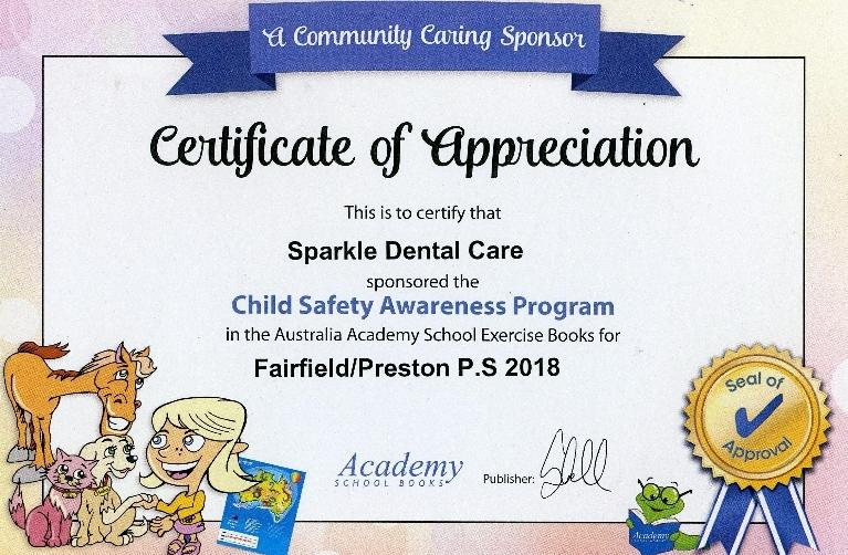 certificate of appreciation | Child's Dentist Fairfield VIC